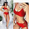 Купальник жіночий трійка 001 (42-44, 44-46) кольори: червоний, чорний) СП