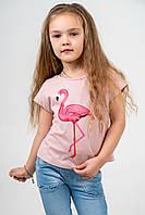 """Футболка детская цвета пудры с принтом """"розовый фламинго"""""""