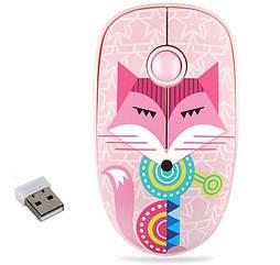 Мышь USB беспроводная Лиса Розовая. Мышка для ноутбука/ПК на батарейке