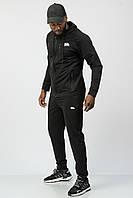 Спортивный костюм мужской тонкий (весна-лето-осень) c капюшоном черный