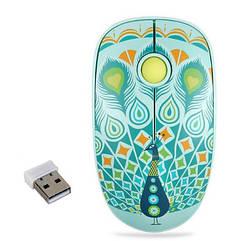 Мышь USB беспроводная Павлин. Бесшумная мышка USB для ноутбука/ПК на батарейке