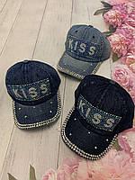 Кепка джинсовая для девочек со стразами Kiss размер 54-55 см, цвета указывайте при заказе