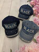 Кепка джинсовая для девочек со стразами Black размер 54-55 см, цвета указывайте при заказе