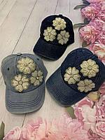 Кепка джинсовая для девочек с бусинами Цветы размер 54-55 см, цвета указывайте при заказе