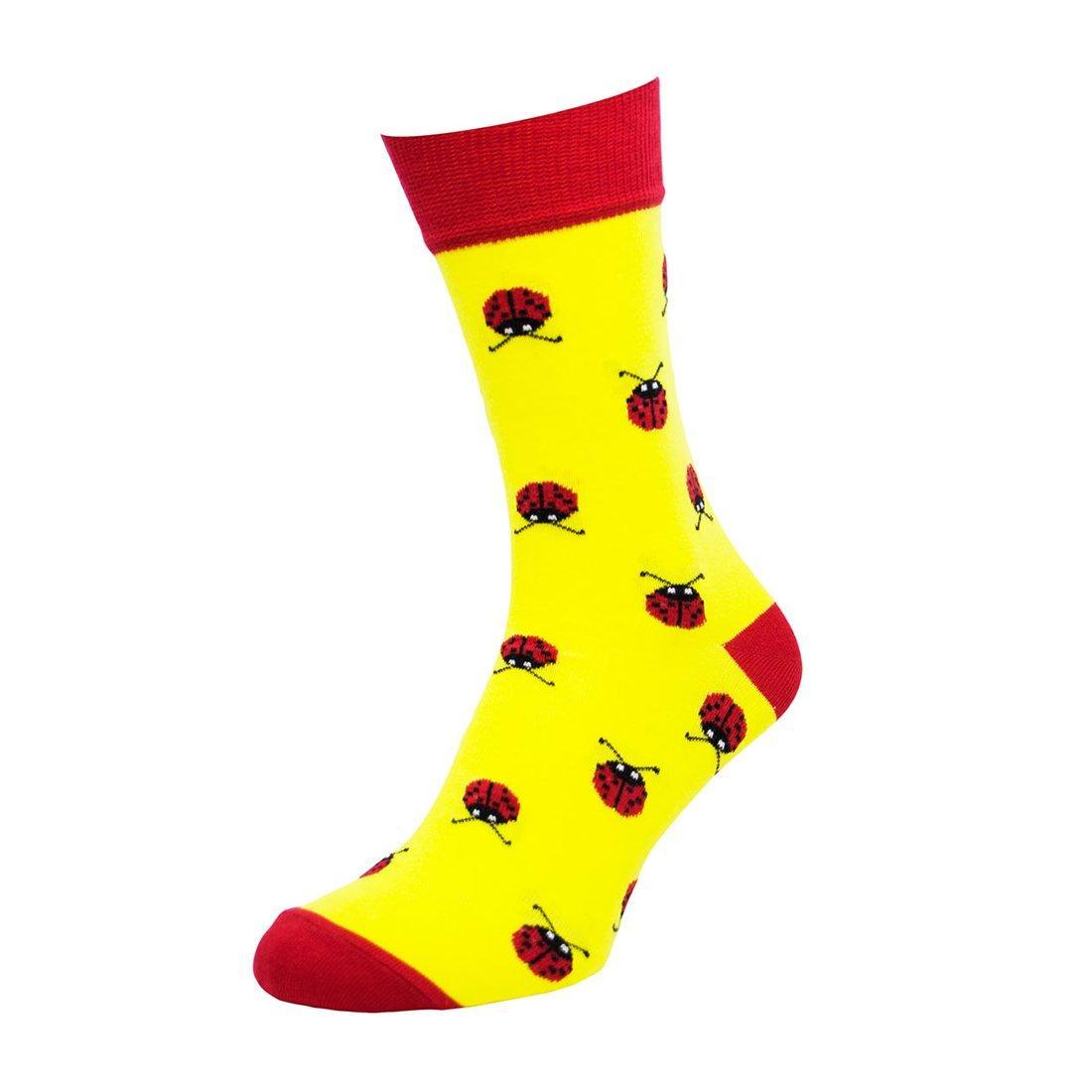 Носки мужские цветные из хлопка, божья коровка, жёлтые