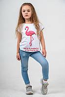 """Футболка детская белая с принтом """"розовый фламинго"""""""