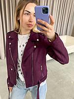 Жіноча стильна замшева куртка-косуха, фото 1