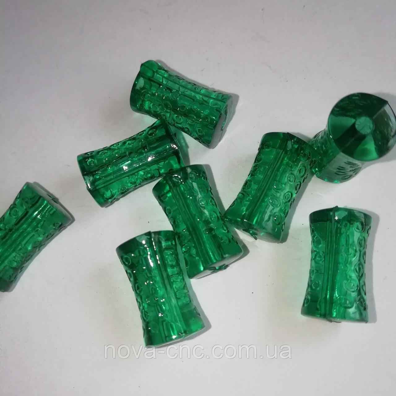 """Намистини акрил """"Циліндр фігурний"""" зелений 18 х 10 мм 500 грам"""