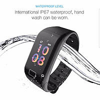 Фитнес часы браслет WearFit F1 с тонометром и пульсометром,шагомером,с влагозащитой (цветной екран) Черные