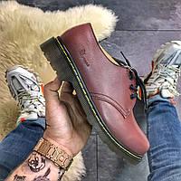 Ботинки / туфли унисекс Dr Martens 1461 Cherry (Бордовый Низкие). Женские / мужские туфли / ботинки Мартинс.