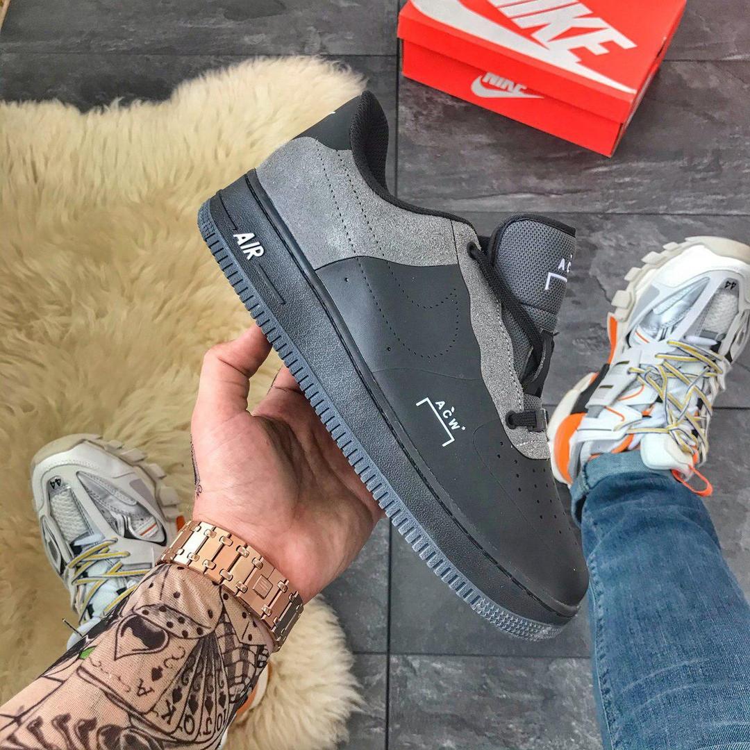 Кроссовки мужские Nike Air Force Low ACW Black (Черный). Мужские кроссовки Найк черного цвета.