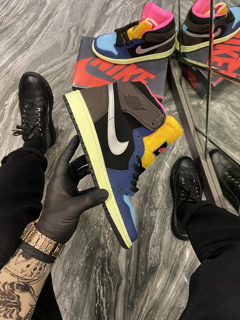 Кроссовки мужские Nike Air Jordan 1 Black/Brown/Blue (Синий Коричневый). Мужские кроссовки Найк разноцветные.