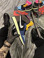Кроссовки мужские Nike Air Jordan 1 Black/Brown/Blue (Синий Коричневый). Мужские кроссовки Найк разноцветные., фото 1