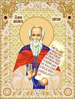 Ткань с рисунком для вышивки бисером Св. Прп. Александр Свирский РИК-4102