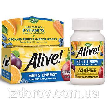 Nature's Way, Alive! комплекс витаминов и минералов для мужчин, Men's Energy Multivitamin, 50 таблеток