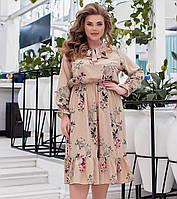 Сукня в квіточку з воланами для повних жінок, фото 1