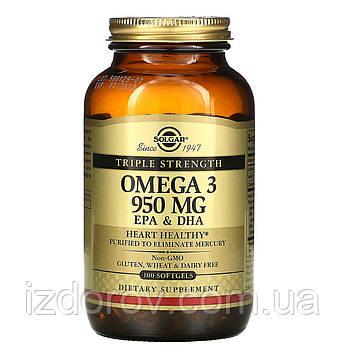 Solgar, Омега-3, ЭПК и ДГК, тройной концентрации, 950 мг, 100 мягких таблеток