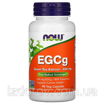 Now Foods, EGCg, екстракт зеленого чаю 400 мг, Green Tea Extract, 90 рослинних капсул