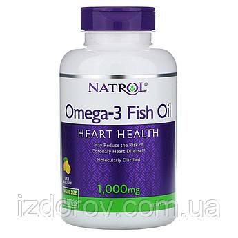 Natrol, Рыбий жир Омега-3 1000 мг, натуральный лимонный вкус, Omega 3 Fish Oil, 150 капсул