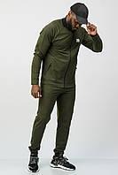 Спортивный костюм мужской тонкий (весна-лето-осень) без капюшона хаки
