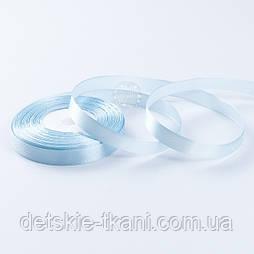 Стрічка сатиновая 12 мм блакитного кольору, бобіна 23 м