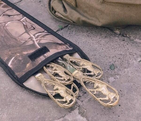 """Комплект шампурів ручної роботи """"Лосі"""" в чохлі з тканини, 6шт"""