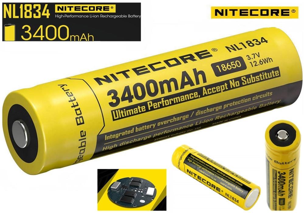 Защищенный литиевый Аккумулятор NITECORE 18650 NL1834 3400mAh Li-Ion 3,7v Protected (+Плата защиты), ORIGINAL