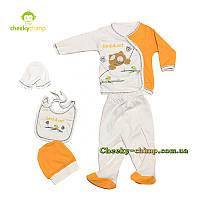 Подарочный набор для новорожденного мальчика Bird s cat оранжевый, фото 1