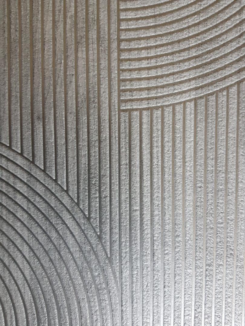 Обои виниловые на флизелине Ugepa ONYX геометрия фигуры полукруги черно серые полосы серебристые структурные