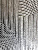 Обои виниловые на флизелине Ugepa ONYX геометрия фигуры полукруги черно серые полосы серебристые структурные, фото 1