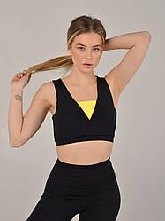 Жіночий топ для фітнесу NV Korat чорно-жовтий