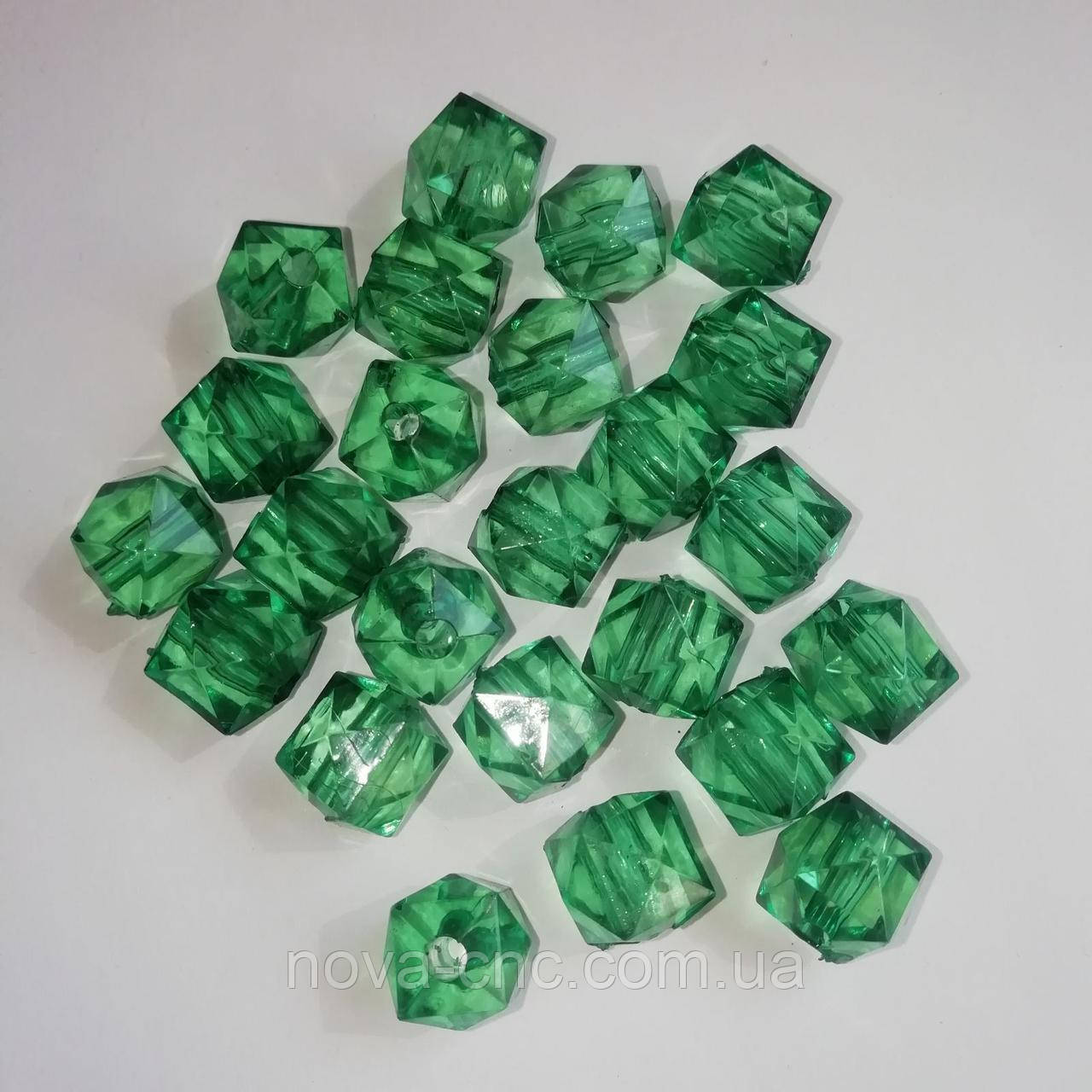 """Бусины акрил """"Куб грани"""" зеленый 12 мм 500 грамм"""