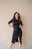 Однотонное облегающее женское платье по колено с разрезом на ноге р-ры 42-48 арт. 699