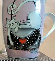 """Чашка-заварник с ложечкой """"Кошки"""". (фарфор) 380мл., фото 3"""