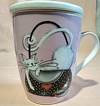 """Чашка-заварник с ложечкой """"Кошки"""". (фарфор) 380мл., фото 2"""