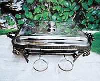 Кований садж для подачі шашлику «Люкс» з кришкою і соусниками в комплекті