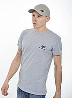 Мужская футболка New Balance (реплика) Светлый серый меланж