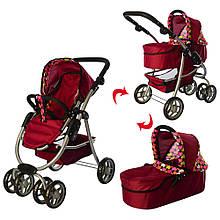 Коляска для куклы Melogo 4 в 1 РОЗОВАЯ розовые колеса арт. 9662 М
