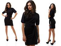 Повседневное черное платье с коротким рукавом -фонарик. Арт-1018