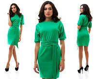 Повседневное зеленое платье с рукавом -фонарик. Арт-1018