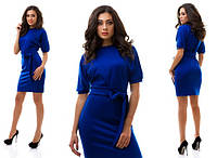 Повседневное синее платье с коротким рукавом-фонарик. Арт-1018