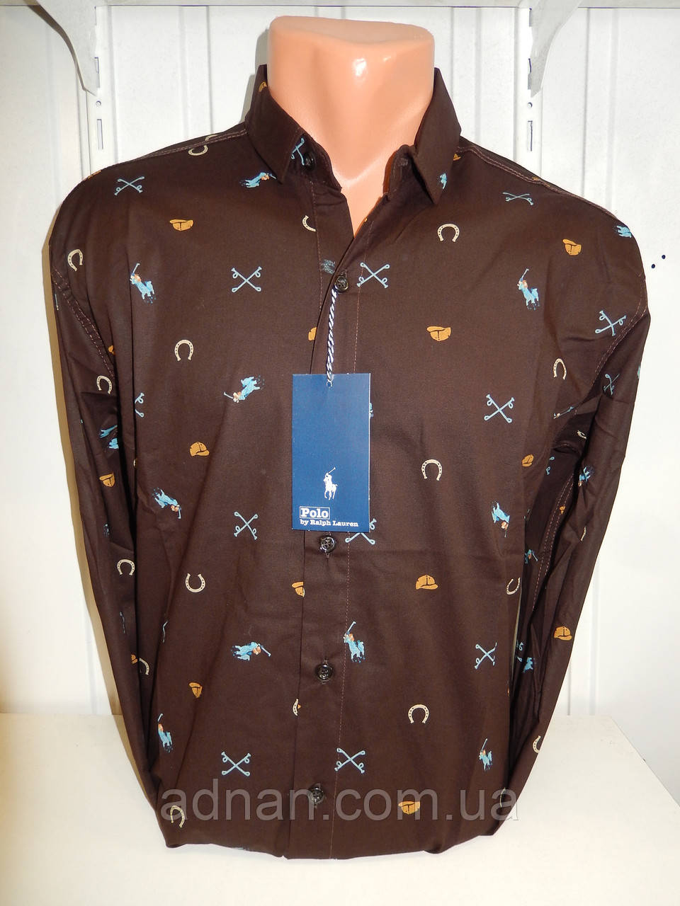 94f19d0b7a12a38 Рубашка мужская POLO узор на фото, стрейч 002/ купить мужская рубашка оптом