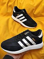 Мужские кроссовки Adidas Iniki Runner (черно-белые) D108 качественная стильная обувь