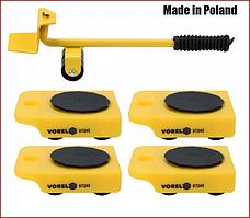 Набор для перемещения мебели : макс. вес - 150 кг, высота - 70 мм, 4 подставки + рычаг Vorel 87245