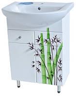 Тумба для ванной Бамбук с умывальником Либра-60