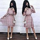 Шифонова принтована сукня з гумкою на талії і пишною спідницею 8py943, фото 3