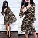 Шифонова принтована сукня з гумкою на талії і пишною спідницею 8py943, фото 5