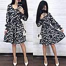 Шифонова принтована сукня з гумкою на талії і пишною спідницею 8py943, фото 6