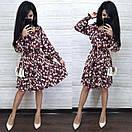 Шифонова принтована сукня з гумкою на талії і пишною спідницею 8py943, фото 8