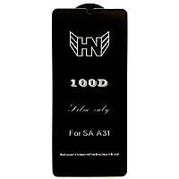 Защитное стекло 100D для Samsung Galaxy A31 / Full Glue черное 100д на самсунг гелекси А31 (SM-A315) А 31